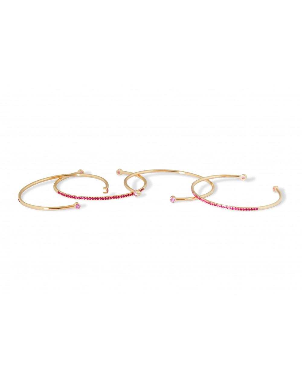 Set of 4 bracelets Pink gold, purple...
